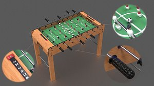wooden football table 3D model