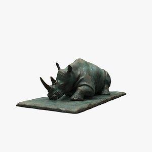 3D Sculpture Sleeping Rhino