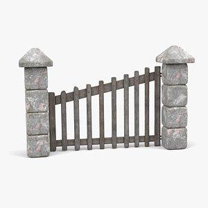 Wooden Door with Stone Walls 3D