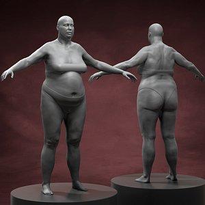 3D Fat Woman Body Basemesh