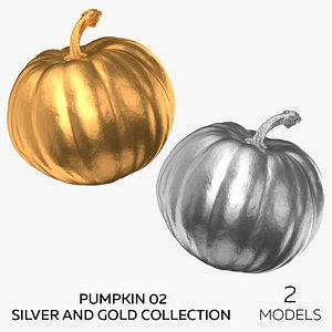 3D Pumpkin 02 Silver and Gold Collection - 2 models