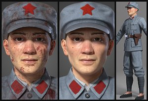 3D Asian   man the Red Army model
