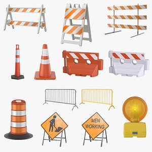 traffic barrier 13 pbr 3D model