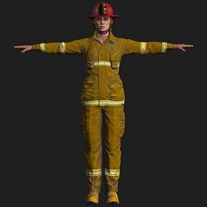 firefighter female fighter 3D model