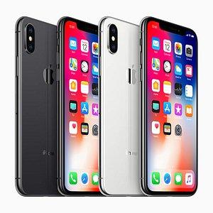 iPhone X Black  white apple x Smartphone 3D model