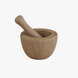 mortar pestle wood 3D model