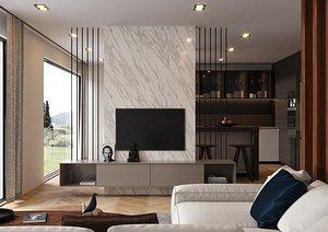 kitchen interior loft 3D
