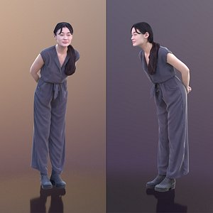 3D model woman young leaning