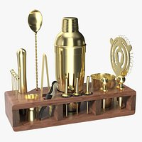 Gold Bar Kit with Wooden Stand 21 Pieces
