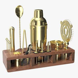 Gold Bar Kit with Wooden Stand 21 Pieces model
