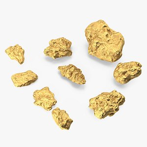 Gold Natural Minerals Stones Set model