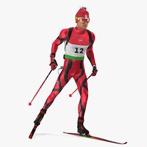 Biathlete Fully Equipped Running Pose 3D model