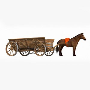 3D model ancient horse-drawn carriage