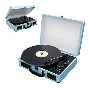 3D victrola vintage suitcase record player
