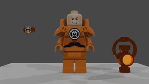 3D LEGO Orange Lantern Lex Luthor