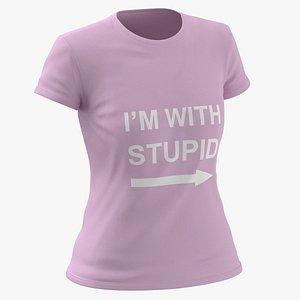 Female Crew Neck Worn Pink Im With Stupid 01 3D model