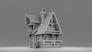 house russian wood 3D model