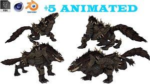 Dark Demon Monster Rigged and Animated model 3D model