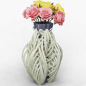 3D model flower vase string
