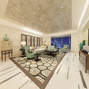 interior living dining room 3D model