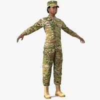 Black Female Soldier Military Camo Fur Rigged