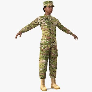 3D model black female soldier military camo