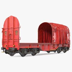 3D DB Cargo Coil Transporter Tarpaulin Freight Wagon No Interior Dirty
