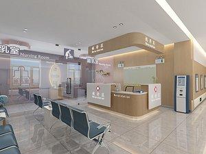 Hospital nurse station fever room infusion room waiting area corridor 3D model
