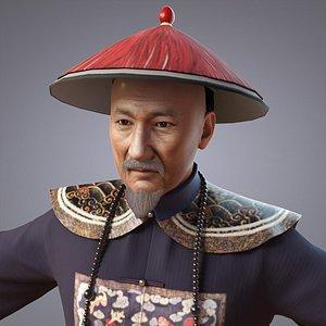 3D model officials china qing