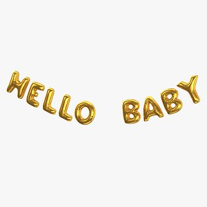 Foil Baloon Words Hello Baby Gold model