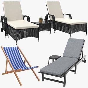 3D sun lounge lounger