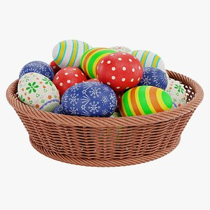 easter eggs basket 3D model