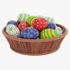 easter eggs basket 3D model