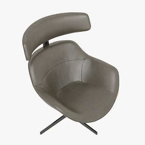 Cassina 277-12 Auckland Arm Chair Brown Leather Black Body 3D