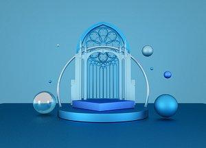 3D C4D e-commerce activity blue decorative element product environmental advertising