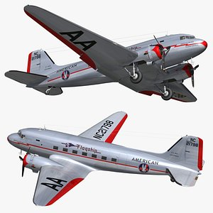 DC3 American Airlines 3D model