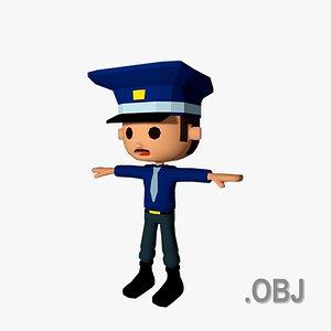 3D Police Man - OBJ - Low Poly Quad model