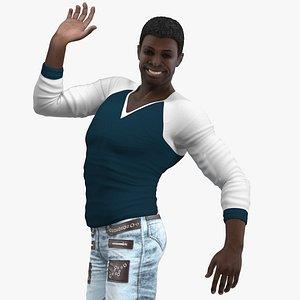 3D afro american man city model