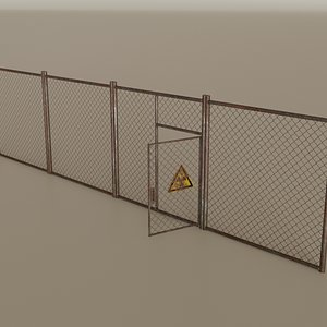 Wire Chain Link Fence 3D model