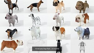 beagle bulldog dalmatian 3D