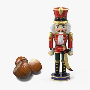 wooden nutcracker hazelnut nuts 3D