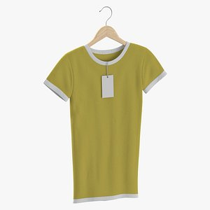 3D model Female Crew Neck Hanging With Tag White and Yellow 02