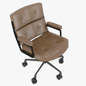 3D Eames Executive Chair Black Frame Brown Leather