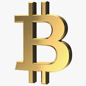 3D bitcoin symbol gold model