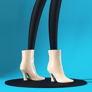 Fendi White Ankle Boots 3D model