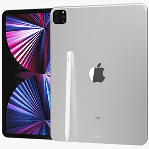 3D model Apple iPad Pro 11 2021 WiFi and Cellular with Pencil Silver