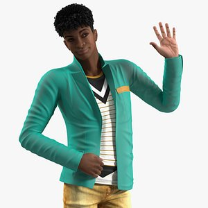 Light Skin Teenager Fashionable Style Rigged for Cinema 4D 3D model