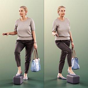 3D woman elderly stairs model