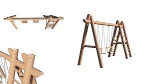 3D wooden swing model