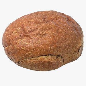 Realistic Round Black Bread 3D model